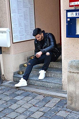 Biker Kunst Lederjacke mit Schwamm Wattierung Jacke Kunstlederjacke Bikerjacke Schwarz 3XL - 3