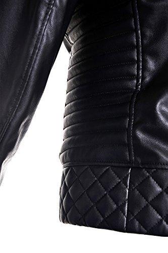 Biker Kunst Lederjacke mit Schwamm Wattierung Jacke Kunstlederjacke Bikerjacke Schwarz 3XL - 7