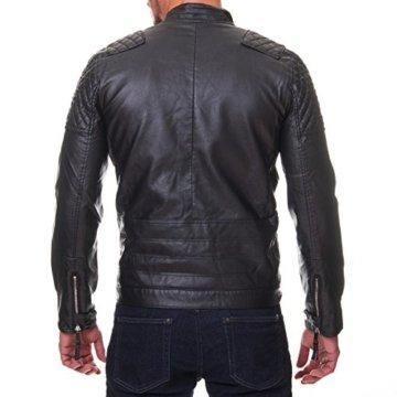 Prestige Homme Herren Jacke Kunst Leder Biker Gesteppt MR08 - 2