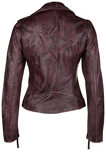 Freaky Nation Damen Lederjacke Bikerjacke Vintage Blouson (40 (Herstellergröße: L), Wine Red) -