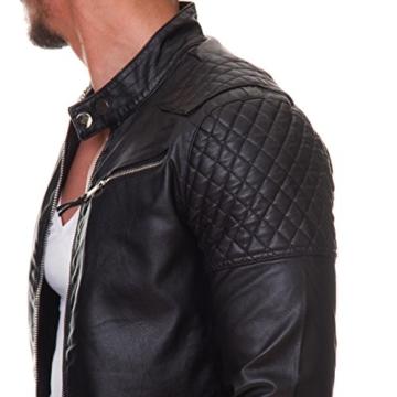 Prestige Homme Herren Jacke Kunst Leder Biker Gesteppt MR08, Größe:L -