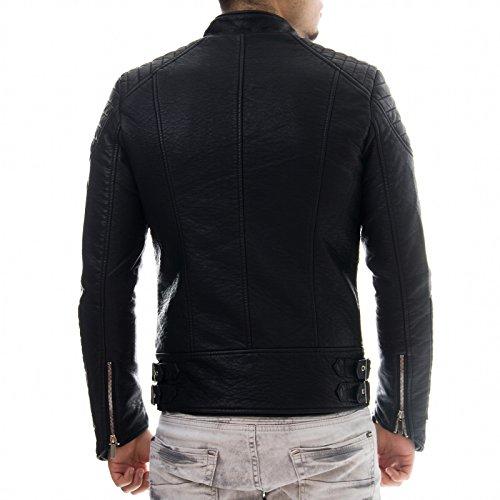 Prestige Homme Herren Kunst Lederjacke Biker Style Zipper Gesteppt PR19, Größe:L;Farbe:Schwarz -