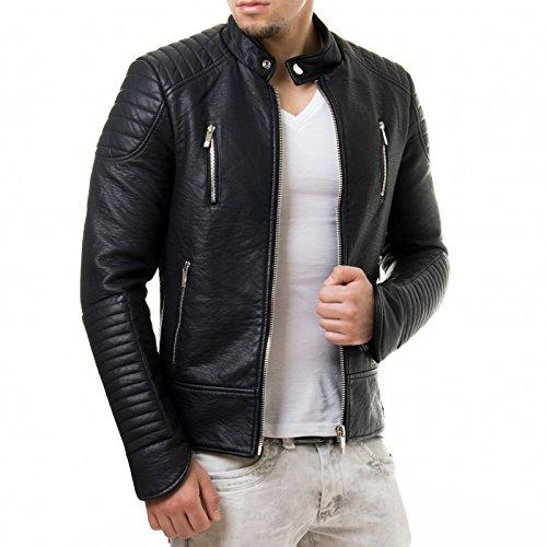 Prestige Homme Herren Kunst Lederjacke Biker Style Zipper Gesteppt PR19