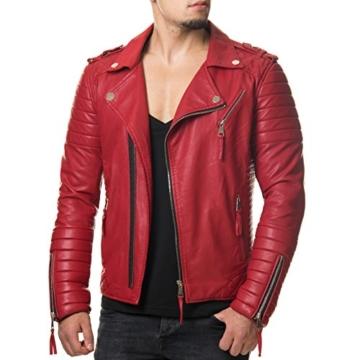 Prestige Homme MR18-4 Herren Kunst Lederjacke Biker Jacke Gesteppt Schwarz Rot S-XXL, Größe:XXL;Farbe:Schwarz -