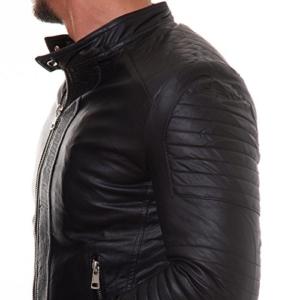 Prestige Homme MR22 Herren Lederjacke Schwarz Stepp Muster S-XXL, Größe:M -