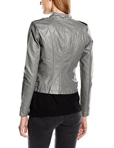 VERO MODA Damen Lederjacke Vmhouston New Short Pu Jacket Dnm Noos, Gr. 34 (Herstellergröße: XS), Grau (Pewter) -