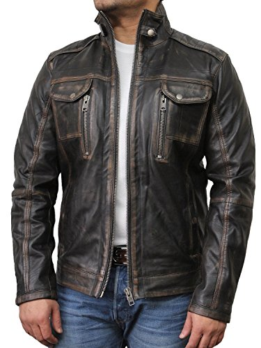 Vintage schwarze Herren Bikerjacke aus Leder (4X-Large) -