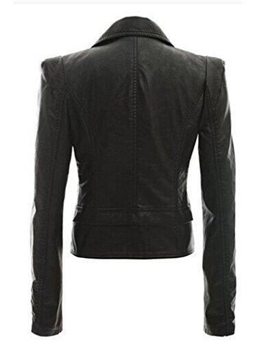 Bestgift Damen Kurz Bikerjacke Reißverschluss-Faux Lederjacke Freizeit Jacke Schwarz M -