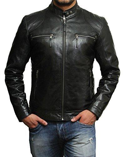 Brandslock Herren Lammfell Echt Leder Biker Jacke (M, Schwarz) -
