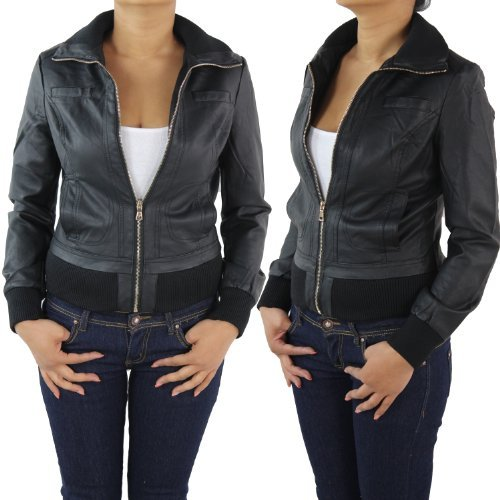 Damen Lederjacke Kunstlederjacke Leder Jacke Damenjacke Jacket Bikerjacke 09all M Schwarz -