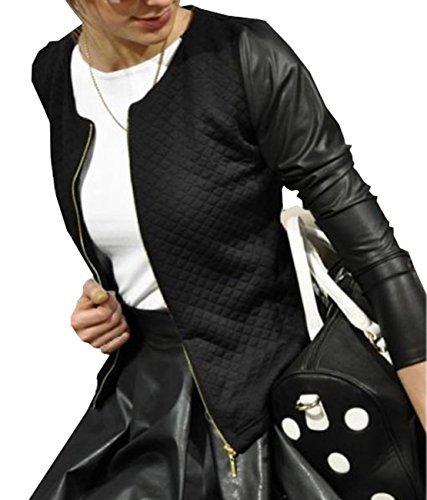 Damen Schlank kleine Jacke weibliche Modelle langärmelige Jacke Nähen PU-Lederjacke Mantel (EU36, Schwarz) -