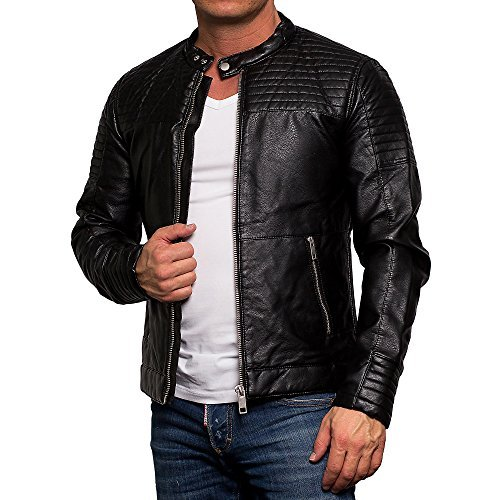 a92efc69a24b ᐅ Jack   Jones Herren Jacke Lederjacke Übergangsjacke Bikerjacke 7006,  schwarz - Lederjacken Online Shop ◁