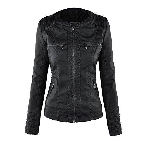 Newbestyle Damen Kapuzen PU-Leder Jacke (Normale EU-Größe) -