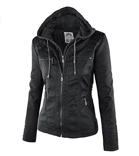 Newbestyle Kapuzen Kunstleder Damen Jacke Motorradjacke Ladies Oberbekleidung (Normale EU-Größe) -