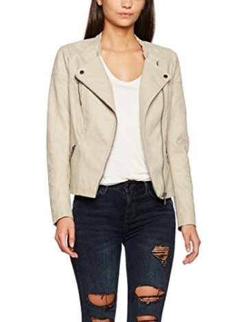 ONLY Damen Jacke Onlava Faux Leather Biker Otw Noos Beige (Pure Cashmere), 40 -