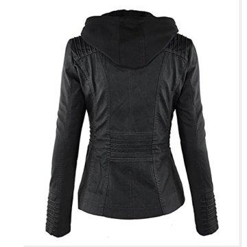 Paris Hill Damen Herbst Winter Kapuzen Kunstleder Jacke Motorradjacke Ladies Oberbekleidung Schwarz L -