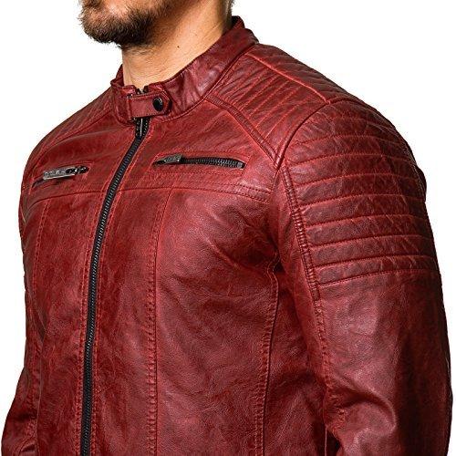 Redbridge Herren Biker Kunstleder Jacke mit gesteppten Bereichen M6037 M6028 M6013 Red bridge (M, Black) -
