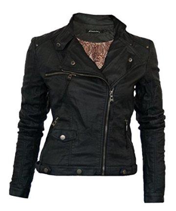 0508 Damen Lederjacke in 16 Farben Biker Style Vegan Leder -