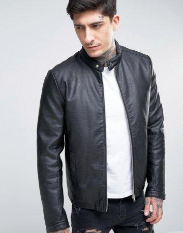 ASOS - Schwarze Racing-Jacke aus Lederimitat - Schwarz