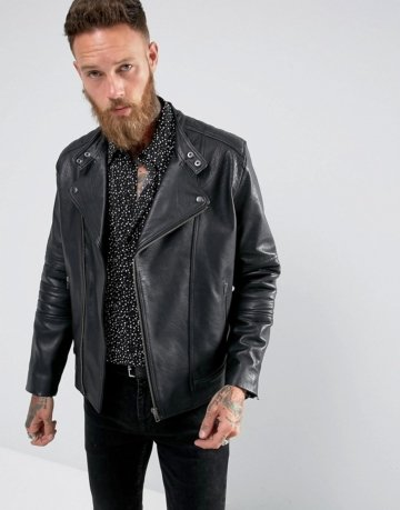 Black Dust - Bubbla - Schlichte Bikerjacke aus Leder in Schwarz - Schwarz