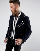 Black Dust - Reed - Wildleder-Bikerjacke mit Borg-Kragen in Marine - Navy