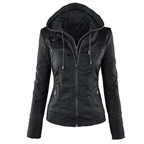 Blivener Womens Classic Faux Leder Kapuzenjacken Zip Up Outwear Khaki L -