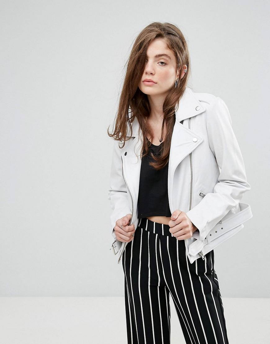 Gestuz - Laika - Weiße Jacke aus echtem Leder - Weiß