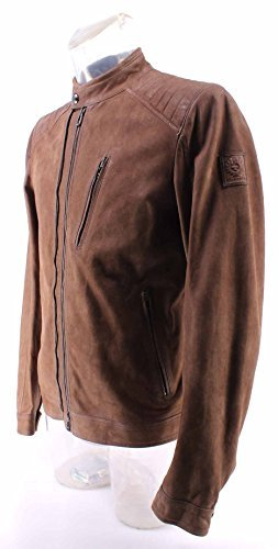 Herren Jacken BELSTAFF 71020307 Leigham Blouson Man Dusty Brown Wildleder Neu - 4