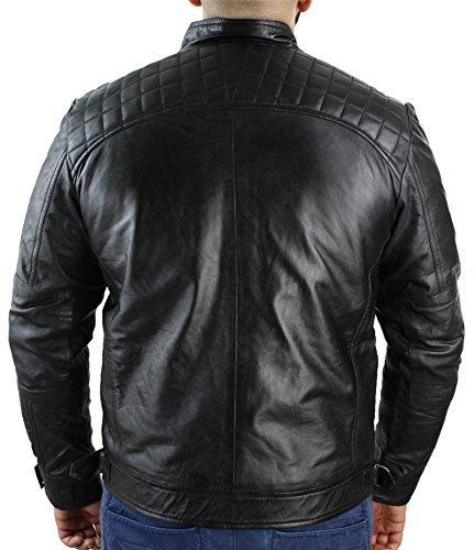 Herrenjacke 100% Echtleder Schwarz Braun Biker Stil Retro Weiches Leder Lässig -
