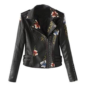 iBaste Bikerjacke Damen Revers PU Lederjacke Leather Jacket für damen Mantel Kurz Bikerjacke mit Stickerei Outwear-BKA-XL -