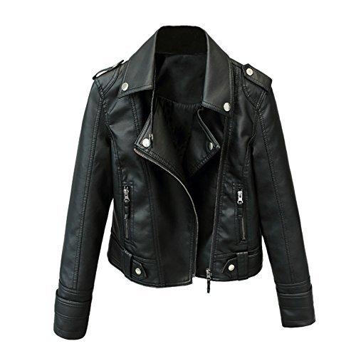 iBaste PU Lederjacke Damen Bomberjacke Leather Jacket für damen Revers Bikerjacke Kurzjacke Hebrstjacke-XL -