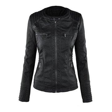Newbestyle Kapuzen Kunstleder Damen Jacke Motorradjacke Ladies Oberbekleidung (Normale EU-Größe) (40 Small, schwarz) -