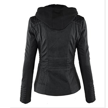 Paris Hill Damen Herbst Winter Kapuzen Kunstleder Jacke Motorradjacke Ladies Oberbekleidung Schwarz M -
