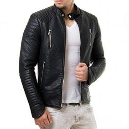 Prestige Homme Herren Kunst Lederjacke Biker Style Zipper Gesteppt PR19, Größe:M, Farbe:Schwarz -