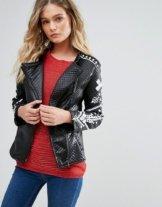 Pussycat London - Biker-Jacket mit kontrastierendem Aufdruck - Schwarz