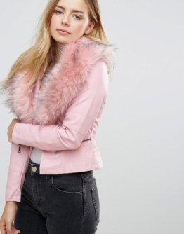 QED London - Jacke mit kunstpelzbesetztem Kragen - Rosa