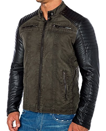 Red Bridge Jacke Herren Biker Kunst- Lederjacke R-41451W Redbridge (XL, Khaki) -