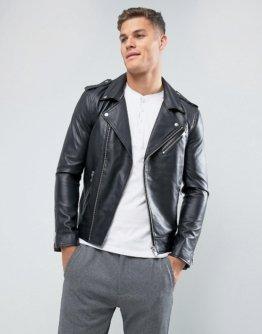 Selected Homme - Bikerjacke aus Leder - Schwarz