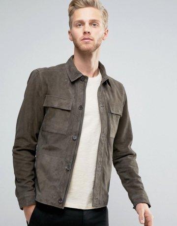 Selected Homme+ - Harrington-Jacke aus Wildleder - Grün