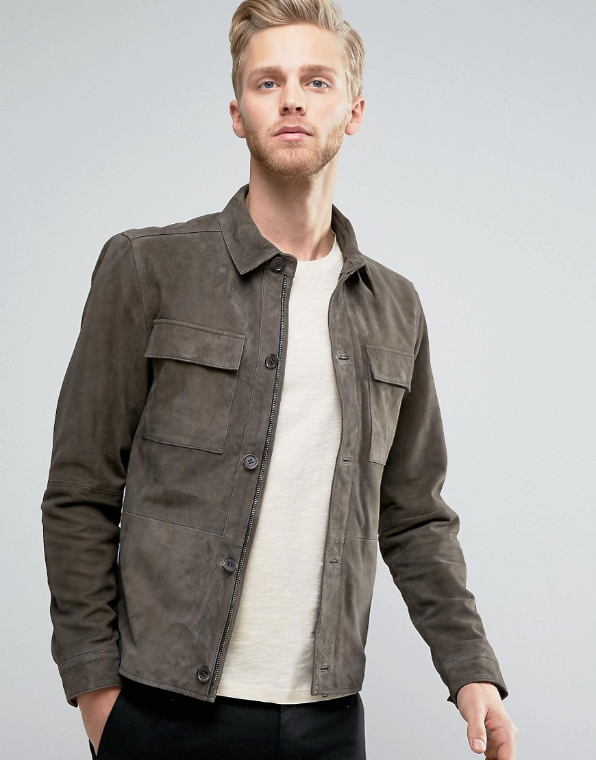 Selected Homme+ - Harrington-Jacke aus Wildleder - Grün