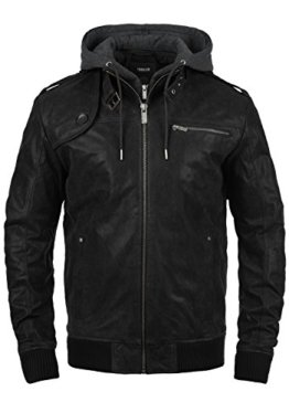 SOLID Ash Herren Lederjacke Echtleder Bikerjacke mit abnehmbarer Sweatkapuze, Größe:3XL, Farbe:Black (9000) -