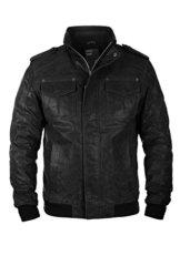 SOLID Cash Herren Lederjacke Echtleder Bikerjacke aus gewaschenem 100% Rau-Leder, Größe:M, Farbe:Black (9000) -