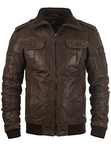 solid fash herren lederjacke echtleder bikerjacke mit stehkragen gr e xl farbe tabacco. Black Bedroom Furniture Sets. Home Design Ideas