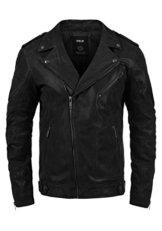SOLID Mash Herren Lederjacke Echtleder Bikerjacke mit zahlreichen Metall-Details aus 100% Leder, Größe:L, Farbe:Black (9000) -