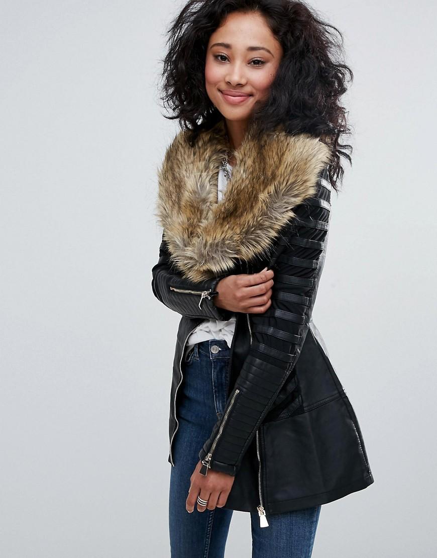 Urban Bliss - Jacke mit breitem Kunstpelzkragen - Schwarz