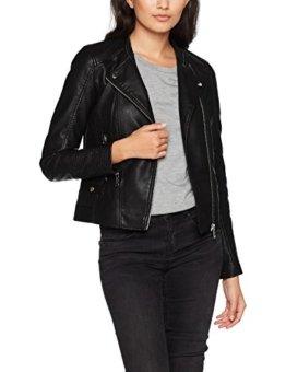 VERO MODA Damen Jacke Vmkerri Short PU Jacket Noos Schwarz (Black Detail:Silver Mink Lining), 34 (Herstellergröße: XS) -