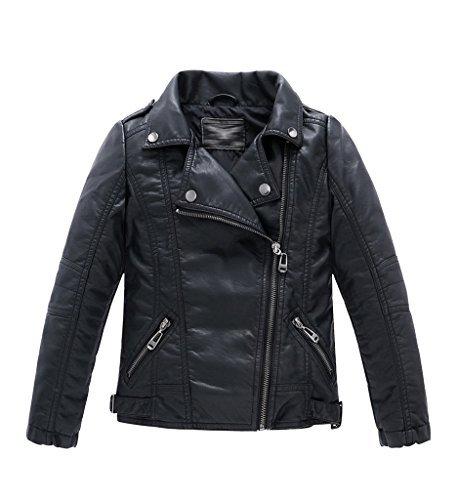 YoungSoul Jungen Mädchen Kunst Lederjacke Kragen Motorrad Leder Mantel Kinder Biker Style Herbst Winter Jacke mit Fellkragen Schwarz 3-4T/Körpergröße 115cm -